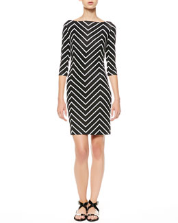 Ralph Lauren Black Label Dresdon Chevron Bateau Dress