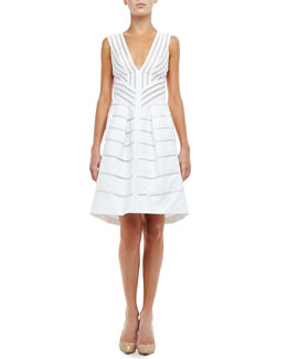 J. Mendel Sheer-Stripe V-Neck Dress