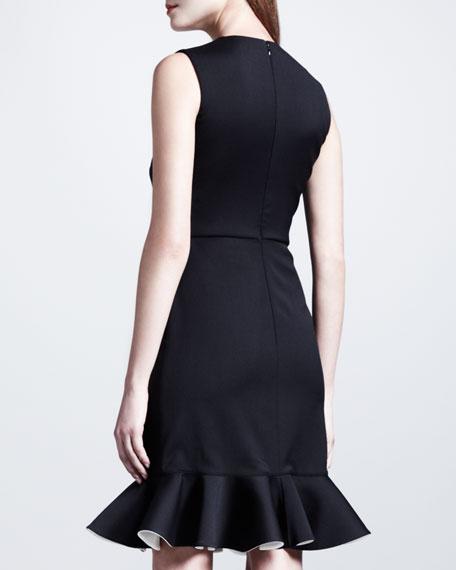 Bicolor-Fluted Sleeveless Dress, Black/White