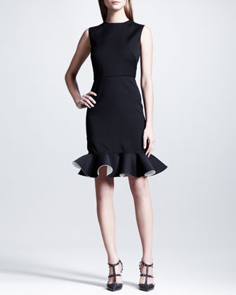 Sale alerts for Valentino  Bicolor-Fluted Sleeveless Dress, Black/White  - Covvet