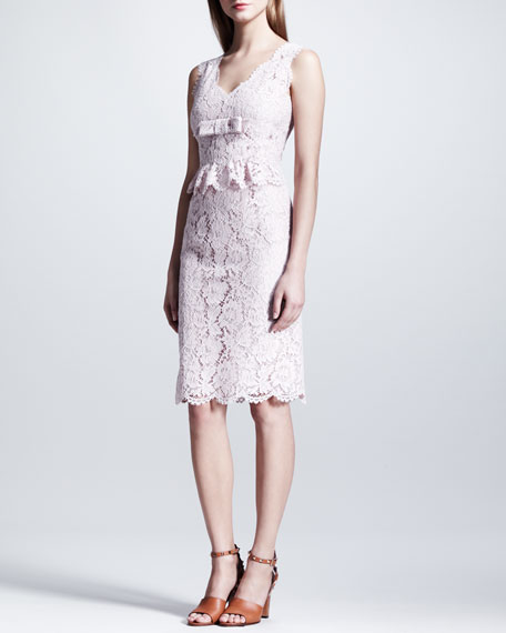 Bow-Detailed Sleeveless Lace Dress, Rose