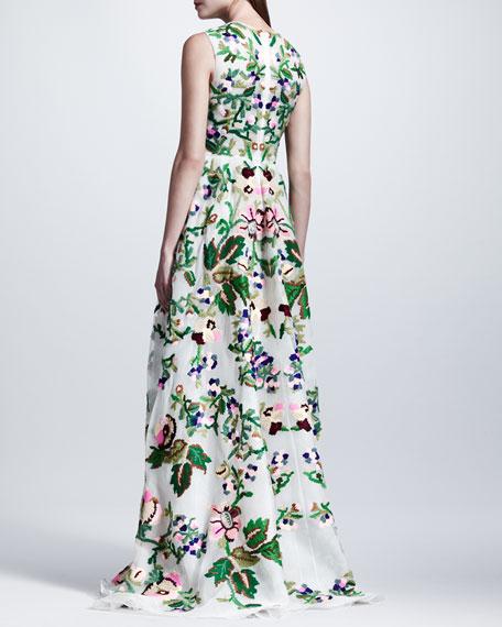 Embroidered Silk Organza Gown, White/Green