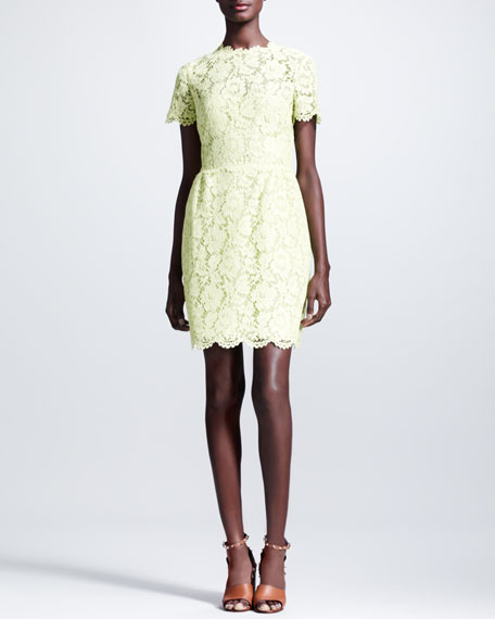 Heavy Lace Bambolina Dress, Citron