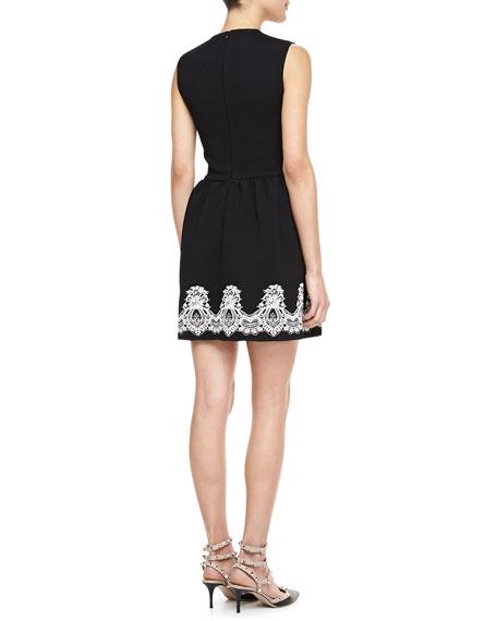 Sleeveless Crewneck Bambolina Lace-Trim Dress