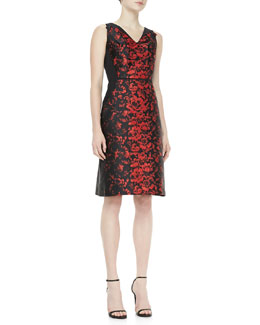 Carolina Herrera Rose Jacquard Dress, Black/Red