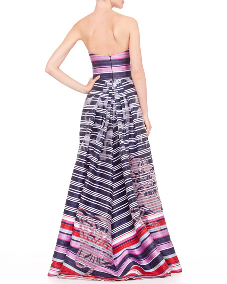 Striped Floral Devore Ball Gown, Navy/Red/Pink