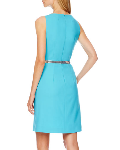 Belted Pleated Crepe Dress