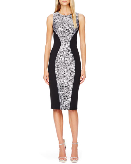 Printed-Panel Fitted Dress
