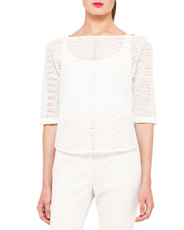 Akris St. Gallen Eyelet Short Blouse