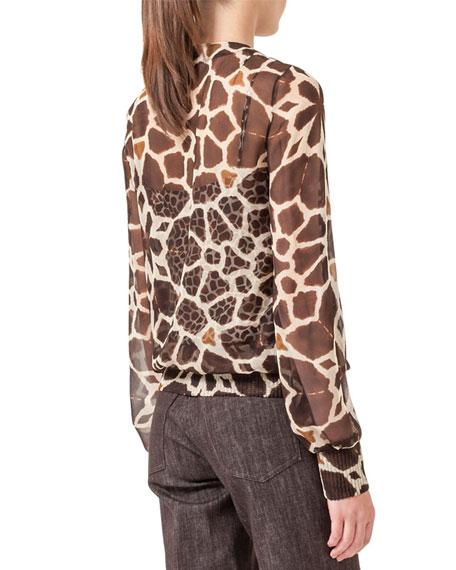 Giraffe-Print Blouson Twin-Set