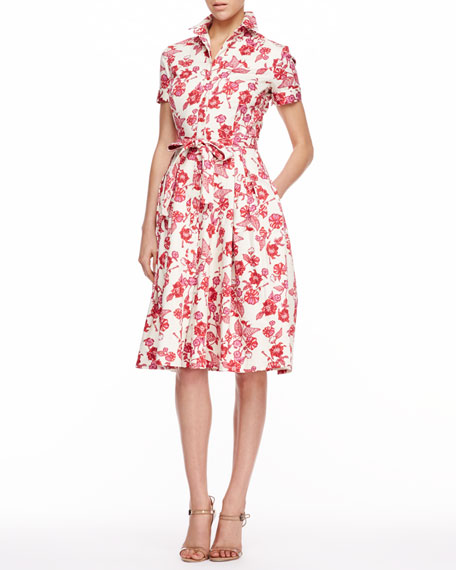 Floral-Print Shirtdress, Red
