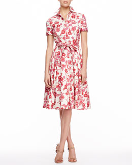 Carolina Herrera Floral-Print Shirtdress, Red