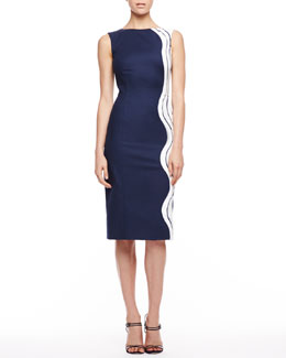 Carolina Herrera Waves Devore Sleeveless Dress, Navy/White