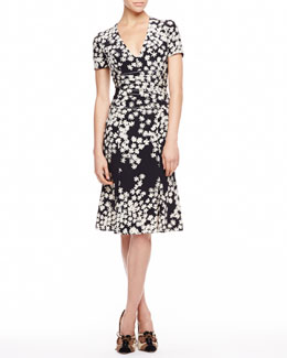 Carolina Herrera Floral Crepe de Chine Dress, Black/Ivory