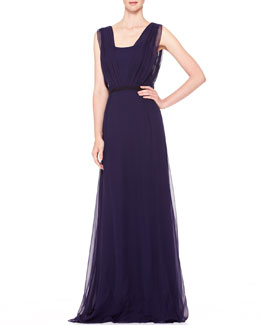 Carolina Herrera Sleeveless Chiffon Evening Gown, Ultramarine