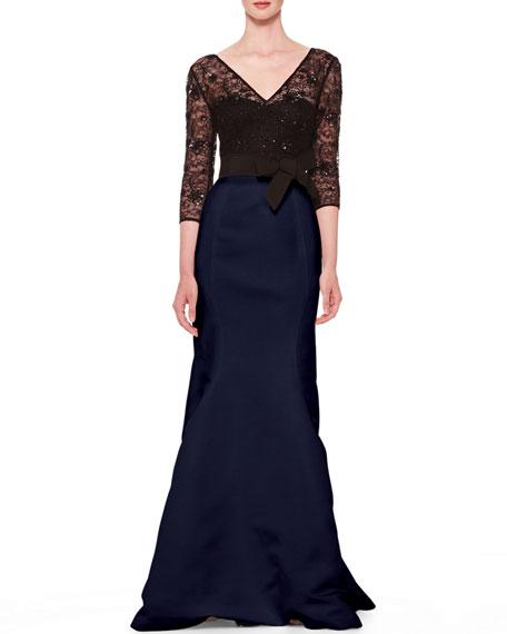 Lace-Top Taffeta Gown, Black/Ultramarine