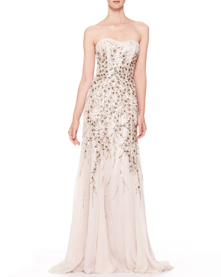 Strapless Beaded Chiffon Gown, Light Gray