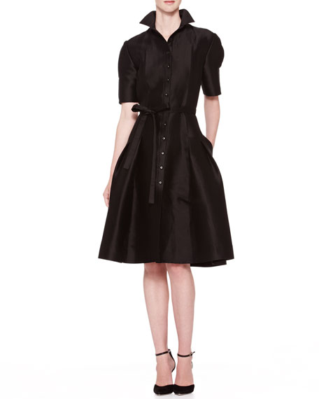 Flared Doupioni Shirtdress, Black