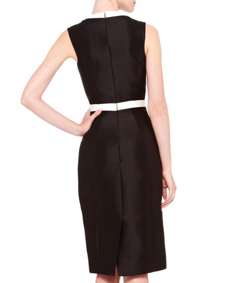 Two-Tone V-Neck Sheath Dress, Black/Ivory