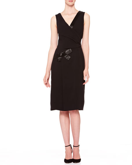 V-Neck Side-Gathered Sequin Dress, Black