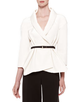 Carolina Herrera Belted Silk Wrap Blouse, Ivory