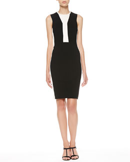 Narciso Rodriguez Two-Tone Sleeveless Sheath Dress