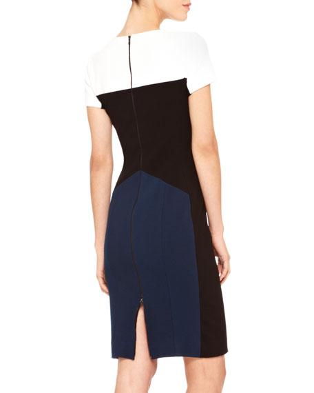 Short-Sleeve Colorblock Sheath Dress