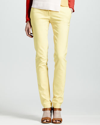 Skinny Stretch Cotton Pants, Citron