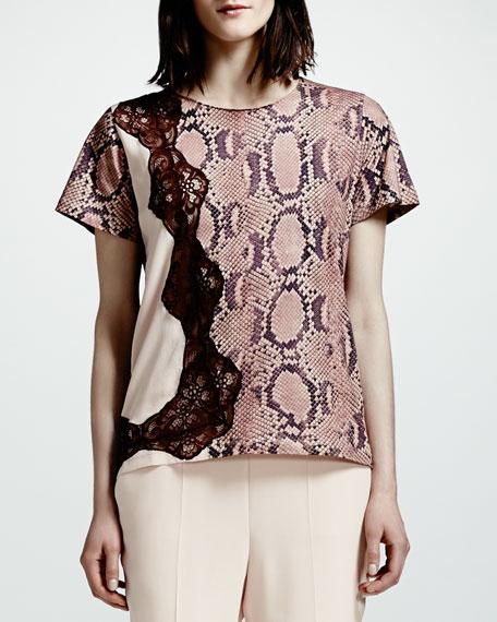 Lace-Trim Python-Print Tee, Rose/Multi