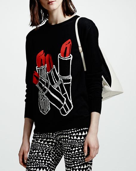 Lipstick Intarsia Knit Sweater, Black