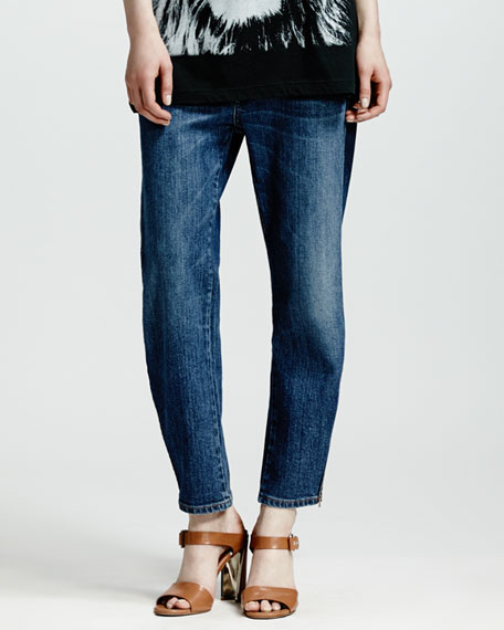Zip-Ankle Boyfriend Jeans, Dark Blue