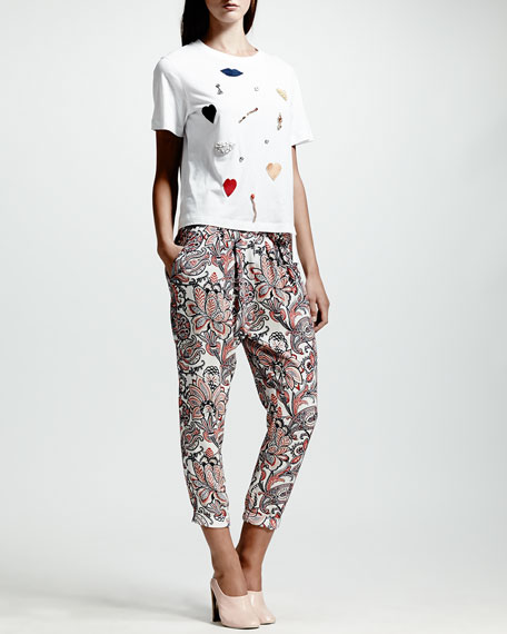 Paisley-Print Harem Pants, Multi