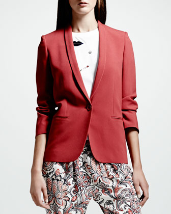Skinny-Lapel One-Button Blazer, Blush
