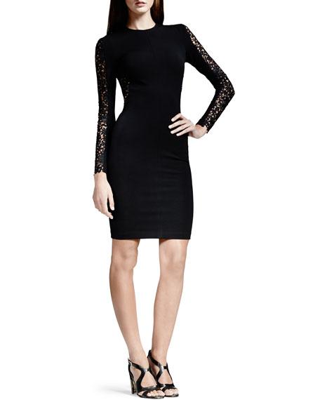 Lace-Inset Long-Sleeve Sheath Dress, Black
