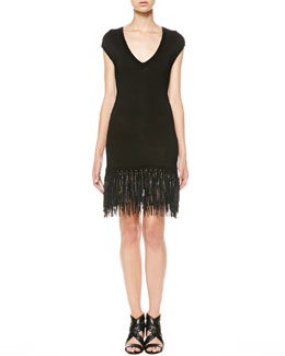 Ralph Lauren Black Label Leather-Fringe Knit Dress