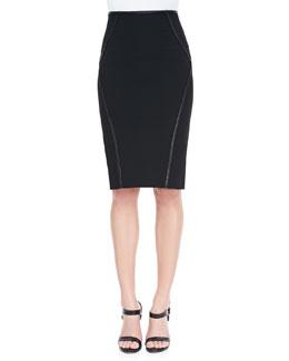 Leather-Trim Pencil Skirt