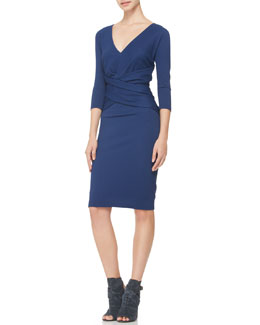 Donna Karan V-Neck Cross-Waist Dress