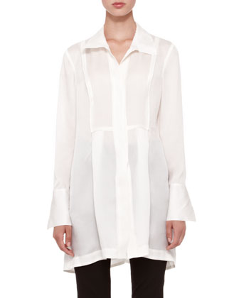 Donna Karan Long-Sleeve Tunic Blouse