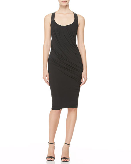 Twisted Leather-Strap Tank Dress