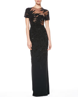 Jason Wu Sequined Combo Botanical Gown
