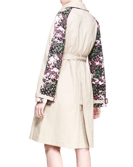 Floral-Panel Trench Coat