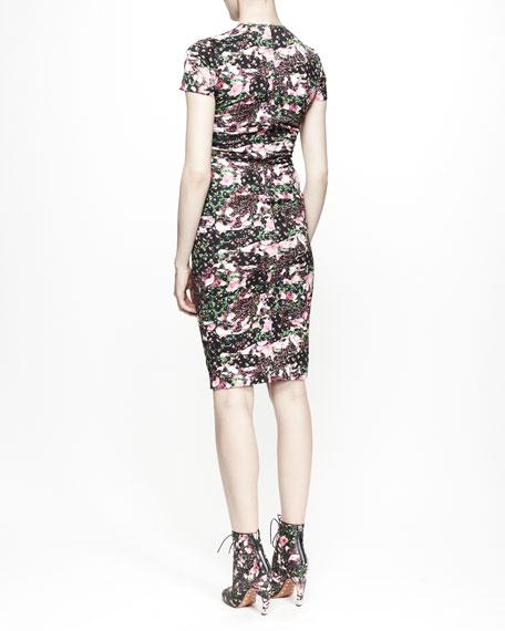 Short-Sleeve Floral Camo Dress