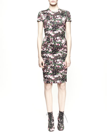 Short-Sleeve Floral Camo Dress
