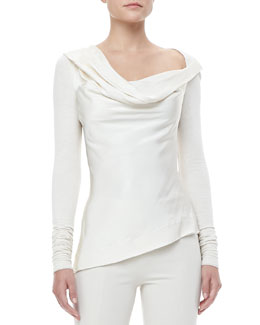 Donna Karan Asymmetric-Neck Combo Top