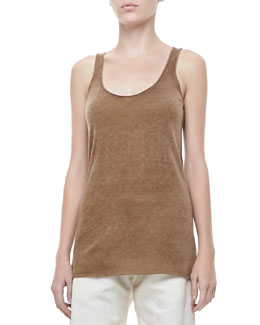 Donna Karan Cashmere Scoop-Neck Tank, Dark Khaki
