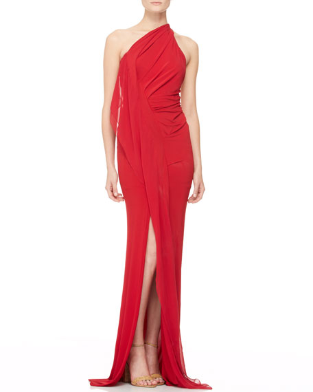 Draped One-Shoulder Evening Gown