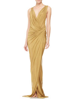 Donna Karan Plunging Twist-Back Evening Gown
