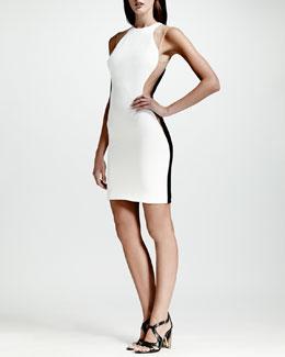 Stella McCartney Mesh-Inset Colorblock Dress, White/Nude/Black
