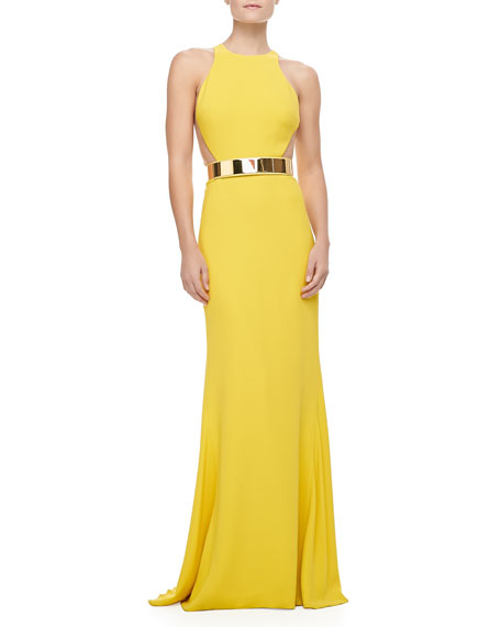 Sleeveless Golden-Belt Gown