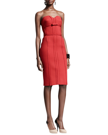 Strapless Bustier Dress with Bow, Rouge